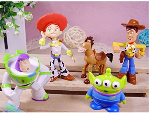 [Cute Toy Story Figure Woody Buzz Jessie Bulleye Alien Toy Figures 5pcs set by Completestore] (Woody Toy Story Costume Accessories)