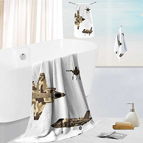 Printsonne 3 Piece Luxury Bath Sheet Set-fighter jet war plane in flat style military aircraft in top side front view vector Made with 100% Turkish Cotton