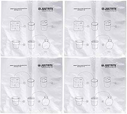 Pack of 10 For Smoking Receptacles Justrite 26827 Aluminum//Polyethylene Disposable Bucket Liner with Twist-Tie