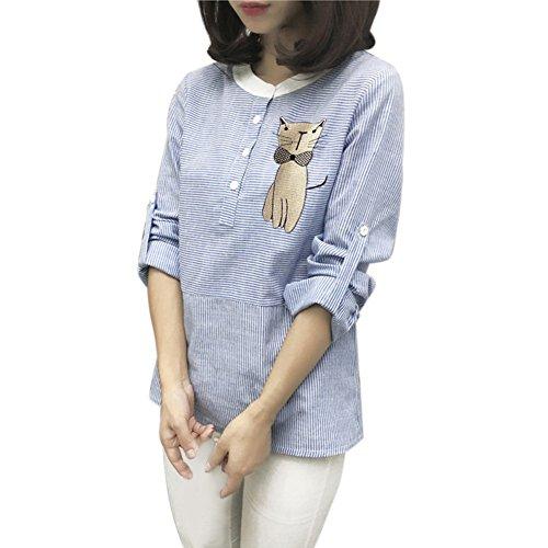Fedi Apparel Lady Girl Long Sleeve Stripe Cat Cartoon Pullover Loose T-shirt Top