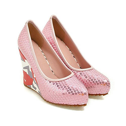 High Shoes Dress Wedge Glitter Round Platform AIWEIYi Pink Women Heels Pumps toe TwqxtItvz
