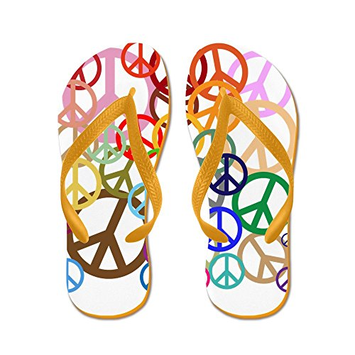 CafePress The Many Colors Of Peace - Flip Flops, Funny Thong Sandals, Beach Sandals Orange
