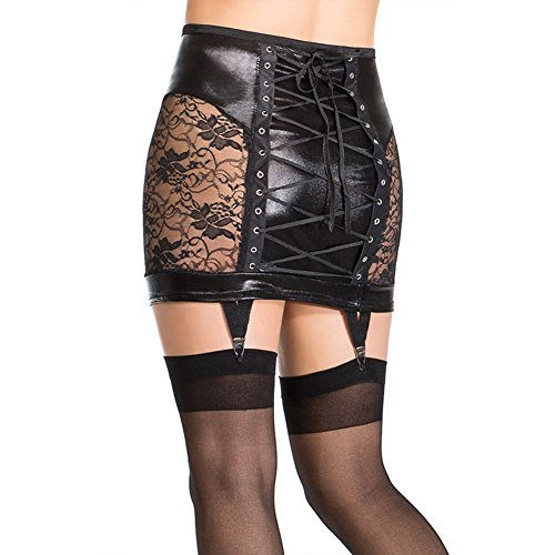 - Wonder Pretty Women's Sexy Vinyl Leather Hollow Out Pencil Lace-up Low Waist Bandage Skirt (M)