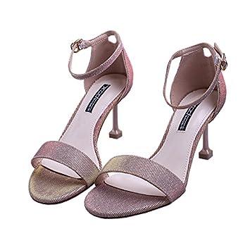 SFSYDDY Hebillas Taladro Zapatos de Vestido Verano Medios y Altos Tacones Sandalias de los dedos de