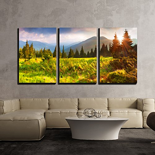 wall26 - 3 Piece Canvas Wall Art - Digital Artwork in Watercolor Painting Style. Beautiful Summer Sunrise in the Mountains. - Modern Home Decor Stretched and Framed Ready to Hang - 24