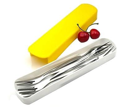 10pcs 12,9 cm) 5 Inch acero inoxidable fruta tenedor para aperitivos cóctel tenedores