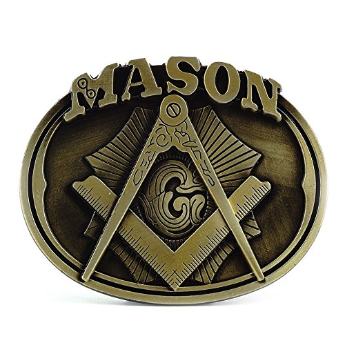 Mens Oval Belt Buckle (Buckle Rage Adult Mens Freemason Masonic Compass Logo Oval Belt Buckle)