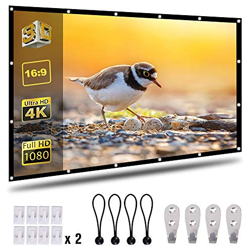 Best Deals! Coolwoo 120 inch Projector Screen, 16:9 HD Foldable Portable Anti-Crease Indoor Outdoor ...