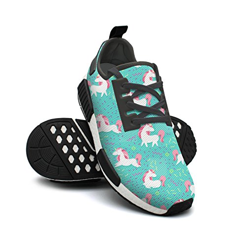 Cross Lightweight Pink Unicorn Green FAAERD Cool Shoes Fashion Gym Womens Breathable Sneakers Shoes Magic Mesh 4zw0xHUq