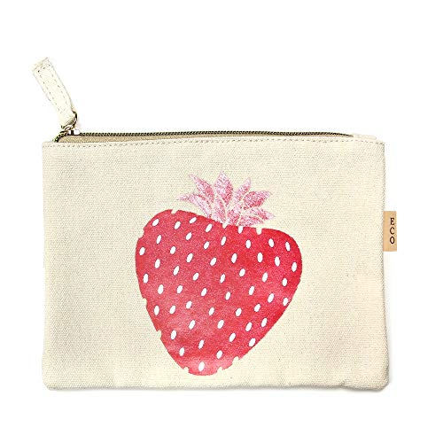 - Me Plus Eco Zipper Pouch Stylish Printed, Traveler Organizer, Cosmetic Small Makeup, Students BTS Organization Bag (Strawberry)