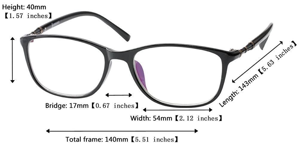 63c9bbc6b3 Amazon.com  SOOLALA 2 Pairs Lightweight TR90 Full Frame Oversized Clear  Lens Eyeglasses Reading Glasses