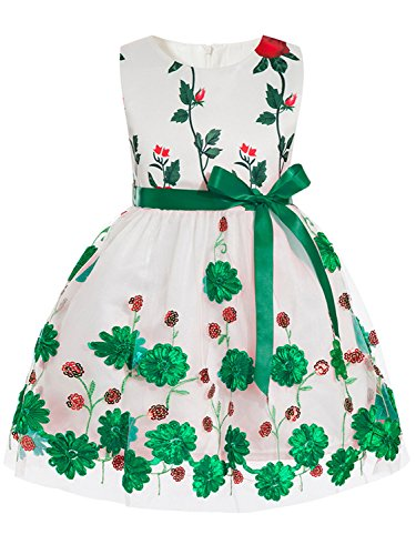 MisShow Baby Girl Floral Bow Toddler Princess Gown Communion Dresses Green 130
