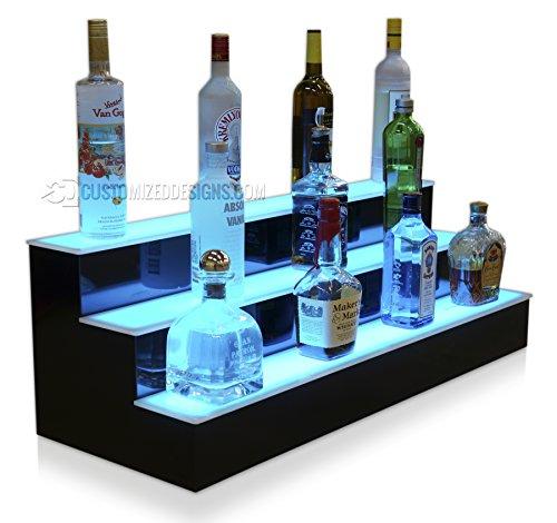 36' 3 Step Illuminated Liquor Display Shelves with High Gloss Black Finish & LED Lighting