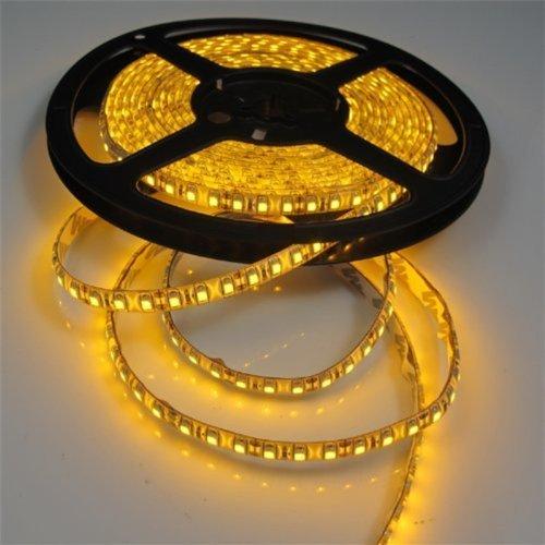 Tasodin Water-resistance IP65, 12V Waterproof Flexible LED Strip Light, 16.4ft/5m Cuttable LED Light Strips, 300 Units 3528 LEDs Lighting String, LED Tape(Yellow) ()
