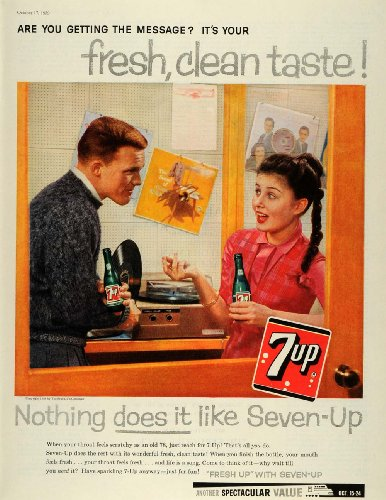 1959 Ad Scratchy Throat 7 UP Cure Seven-Up Soda Freshen Up Bottle Record Player - Original Print Ad from PeriodPaper LLC-Collectible Original Print Archive