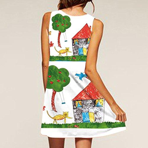 la Vestido Mujeres la Vendimia Verano Cuello las de Honghu Redondo de amp;verde Impresión Sin del Mangas de Blanco dn7xERWR