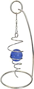 "QWIRLY Mini - Desktop Spiral Spinner with Decorative Sphere Desk Optical Illusion Kinetic Toy with Stand and Swivel Hook - 4"" Hanging Spiral Tail and 7"" Stand, Silver Blue"