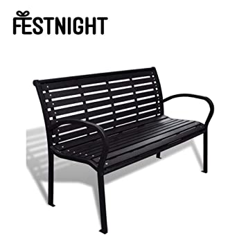 Remarkable Festnight 3 Seater Outdoor Patio Garden Bench Porch Chair Seat With Steel Frame Solid Construction 49 X 24 X 32 3 Seater Bralicious Painted Fabric Chair Ideas Braliciousco