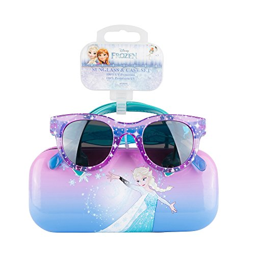 Frozen Sunglasses & Soft Fuzzy Carrying Case Set for Girls - 100% UV Protection for Kids