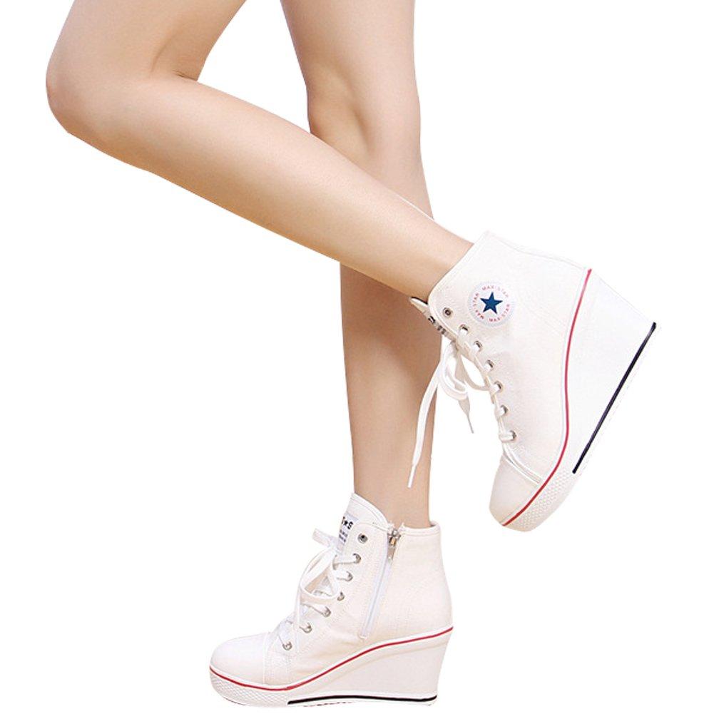 Kivors Femme Chaussures Toiles Baskets Mode Montantes Compens/ées Sneakers Sport Casuel