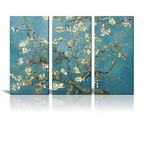 "Wall26 Canvas Print Wall Art - Almond Blossoms by Vincent Van Gogh Reproduction on Canvas Stretched Gallery Wrap. Ready to Hang -36""x18"" x 3 Panels"