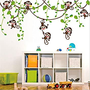 Lovely HALLOBO® Wandtattoo AFFE Schaukel Affen Wandaufkleber Monkey Wandsticker  Kinderzimmer Kinder Baby