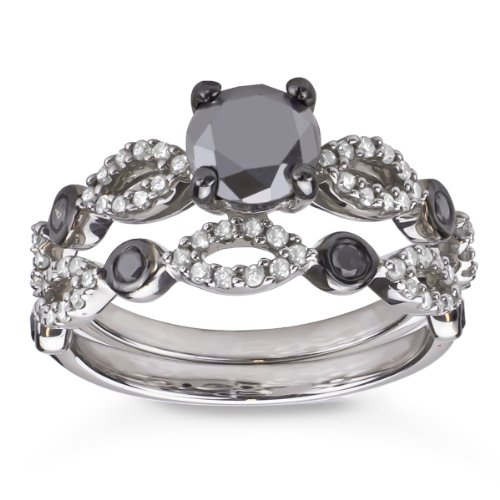 (Sterling Silver 1 1/2CTTW TDW Black and White Diamond Bridal Ring Set)