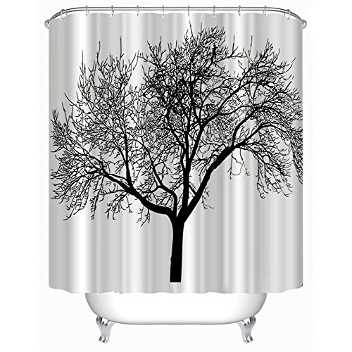 EZON-CH Customize Waterproof Black Tree Print Polyester Fabric Bathroom Shower Curtain 72x96IN