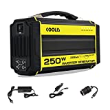 Coolis AC 250W Max 300W Purely Sine Wave Power Inverter Generator 222Wh, with Silent 110V AC2 / 12V DC4 / 5V USB2 Output, 60000mAh Recharable Lithium Polymer Battery