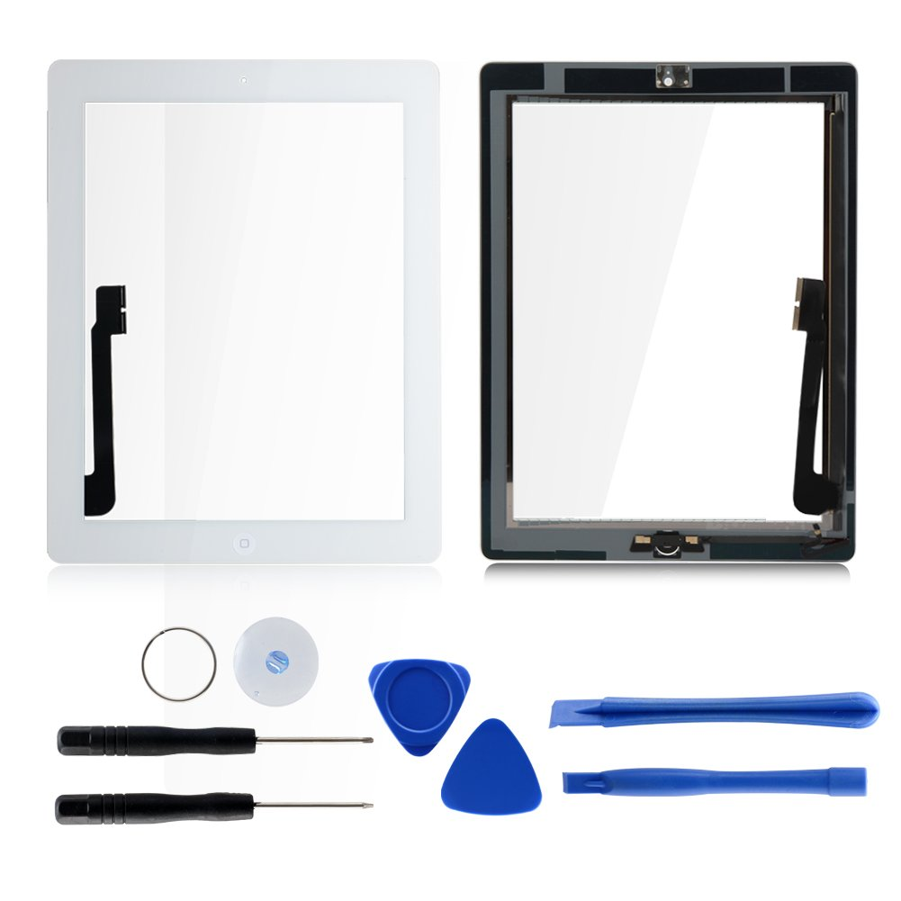 Front Panel Glass Screen with Home Button for iPad 4, Digitizer Replacement kits Include Pre-install Adhesive and 7 pcs tools by Tongyin