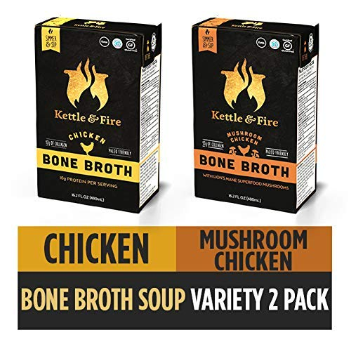 (Bone Broth Soup, Mushroom Chicken and Chicken Variety Pack by Kettle and Fire, Pack of 2, Keto Diet, Paleo Friendly, Whole 30 Approved, Gluten Free, with Collagen, 10g of protein,)