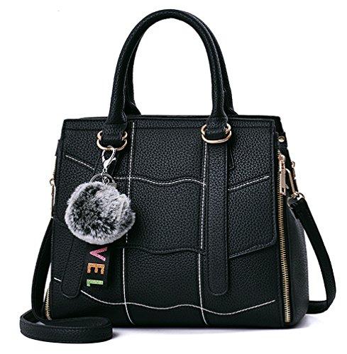 NUCLERL Bolso de las mujeres de Nueva Mirada de Calidad de Costura Señora Bolso Crossbody Bolsa de Hombro con Encantadora Pelusa Llavero Marrón Negro