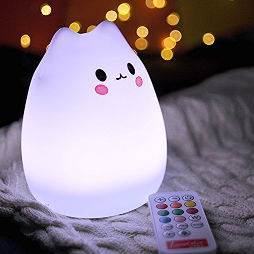 Anteqi Carton Night Light Silicone Remote Timer Cute Cat