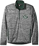 NFL New York Jets Men's Fast Pace Half Zip Pullover Top, Heather Grey, XX-Large