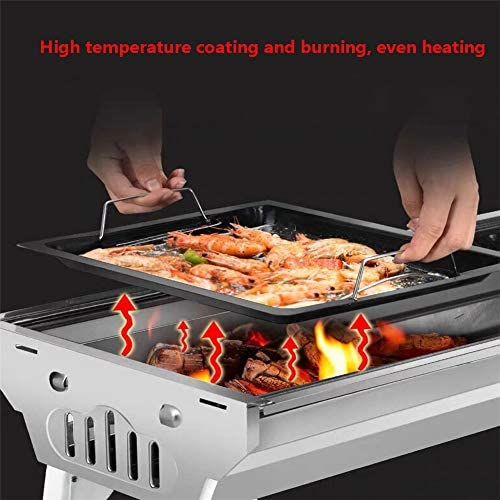 Barbecue À Charbon Portable Pliable Grill Barbecue Pique-Nique De Cuisson Démontable pour BBQ Extérieur Camping (Haut avec Sac De Rangement)