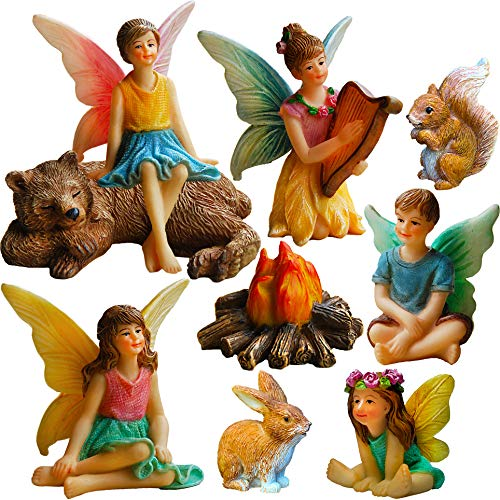 Mood Lab Fairy Garden - Miniature Fairies Figurines Accessories - Camping Kit of 9 pcs - Set for Outdoor or House Decor (Miniature Figurines Fairy)