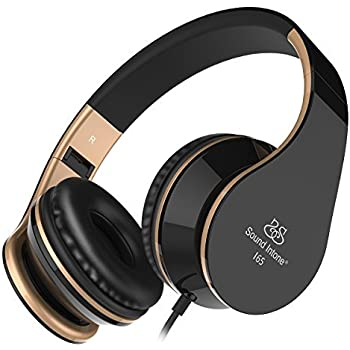 Sound Intone Headphones with Microphone and In-Line Volume Control, Perfect Sound with Powerful Bass, Adjustable Foldable Headset for Iphone and Android Devices (Black)