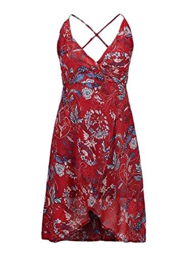 Vestito Coolred Del Semplici Scollo Sole donne Profondo V Fionda Beachwear Backless Rosso Da A qt1rqw