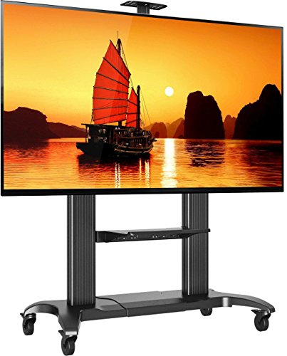 Mobile TV Stand Heavy Duty TV Cart for Massive LCD LED OLED Flat Panel Plasma TV 60″ – 100 Inches up to 300lbs Universal TV Cart with Wheels Rolling TV Stand with Shelves Black