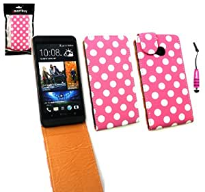 Emartbuy ® Stylus Pack Para El Nuevo HTC One Prima De Pu Funda De Cuero Flip / Cubierta / Funda Lunares Hot Pink / Blanco Metallic Mini + Hot Pink Stylus + Protector De Pantalla