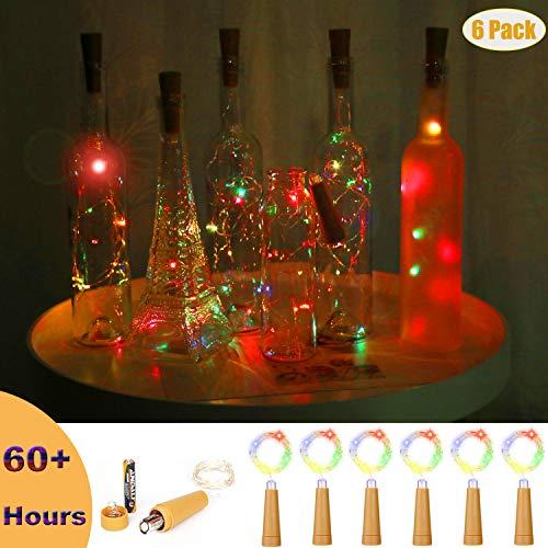(Jomilly Flashing Wine Bottle Lights, Colorful Mini String Lights, 60 Hours AAA Battery Operated 15 LED Fairy Light Cork Stopper Vase Light (Pack of 6))