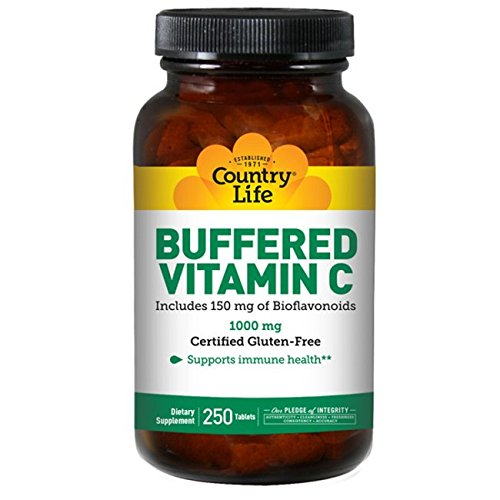 Country Life Buffered Vitamin C 1000 Mg Plus 150 mg of Bioflavonoids, 250-Count - Tablet Vitamin C Vitamins