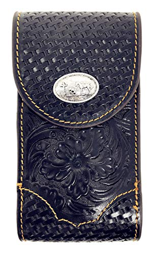 Texas West Men's Cowboy Small Leather Praying Cowboy Smartphone Holder Holster Cellphone Case in 2 Colors (Black)