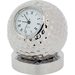 Gift Time Products Unisex Golf Ball on Stand Miniature Clock - Silver