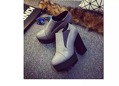 Gaorui Winter Women Chunky High Heel Ankle Boots Platform Cleated Stretchy Chelsea Shoe Gray cECfo