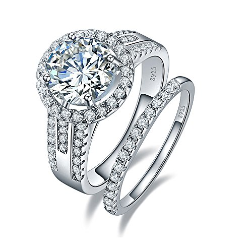 Classy Engagement Ring Set (BONLAVIE 925 Sterling Silver Cubic Zirconia Halo Anniversary Promise Wedding Band Engagement Ring Bridal Set Size 5.5)