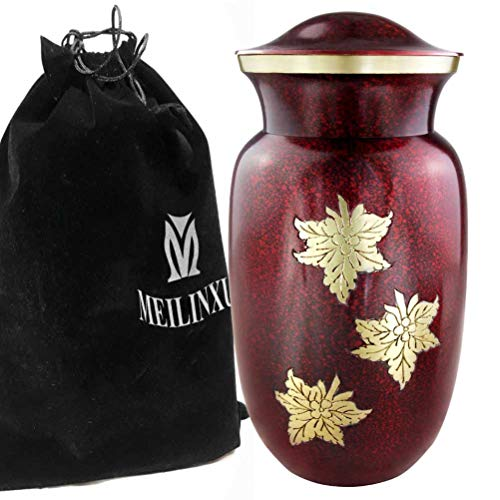 Cremation Urn for Human Ashes Adult – Women, Funeral Urn for Ashes – Metal Hand Engraving Golden Fallen Leaves – Display Burial at Home or in Niche at Columbarium Dark Red, Large Brass Urn Mother