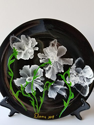 Unique modern abstract hand painted with alcohol ink irradescent white on black 5 floral decorative ceramic collectors plate. - Floral Collector