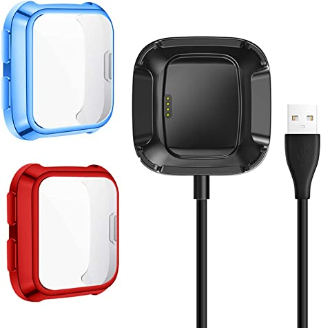 Exclusive Charging Cable Dock Soft TPU Case Cover Frame for Versa Smartwatch 2+1 Pack Not for Versa 2 QIBOX Screen Protectors Plus Charger Compatible with Fitbit Versa Charge with Bumper Case On,