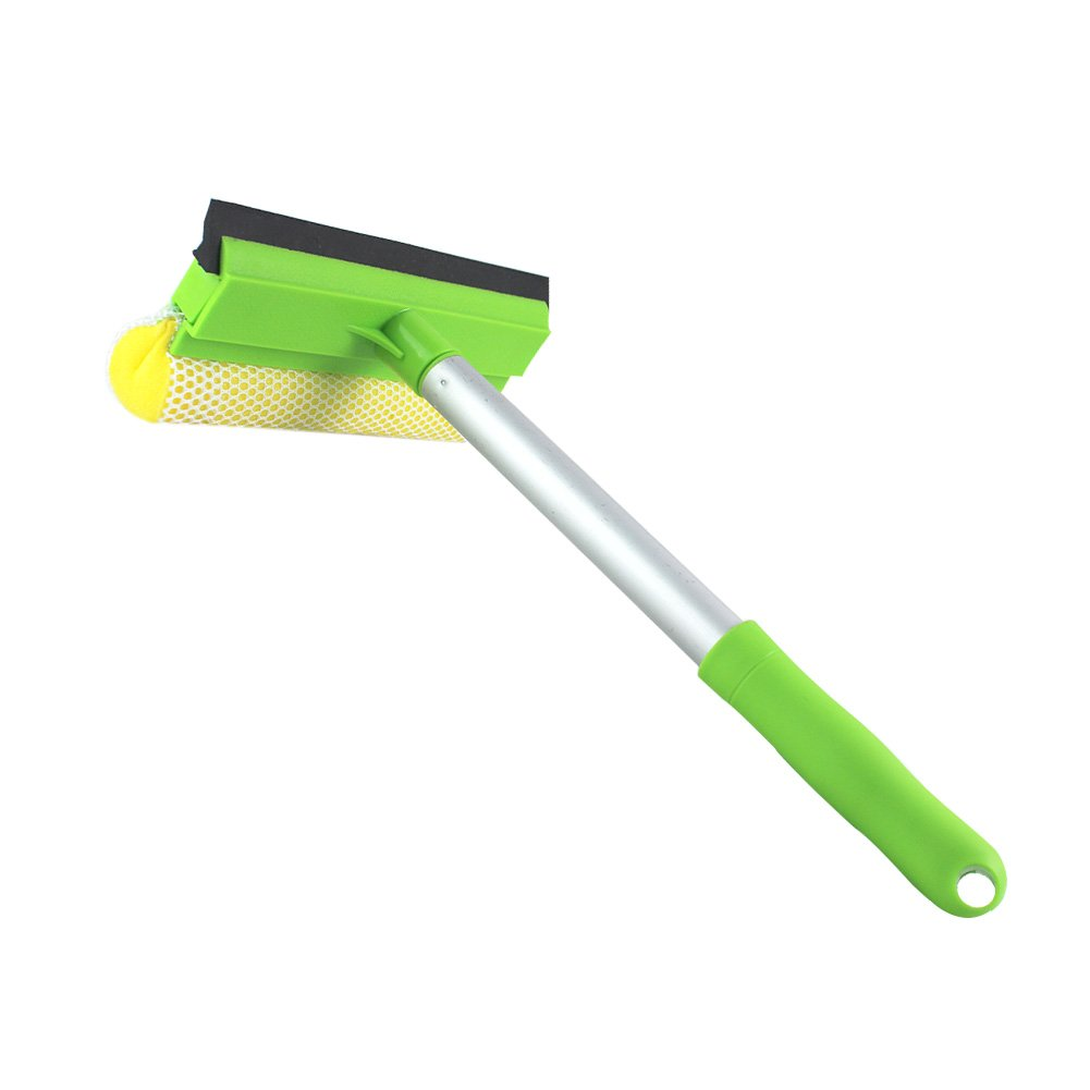 2 in 1 Window Cleaning Mesh Scrubber And Professional Window Squeegee Washing Tools Of Car Glass Cleaner (Squeegee with Handy Pole) GLOYY